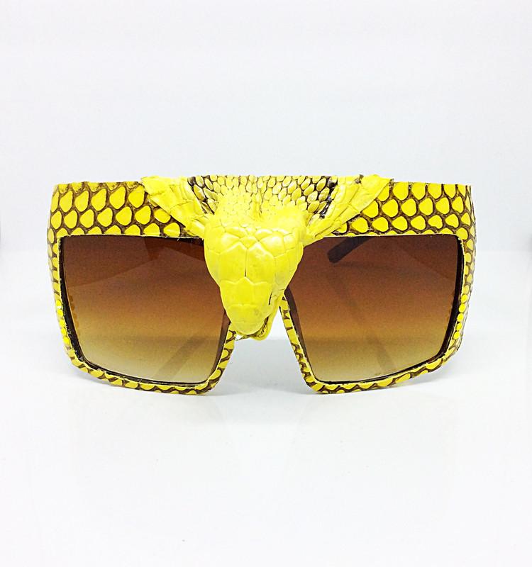 King Cobra Crowned (Snake Head) Snakeskin Sunglass- Yellow