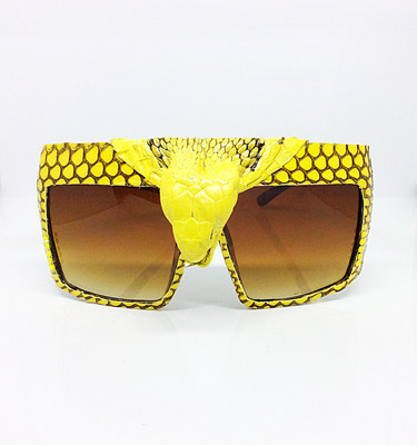 King Cobra Crowned (Snake Head) Snakeskin Sunglass- Yellow