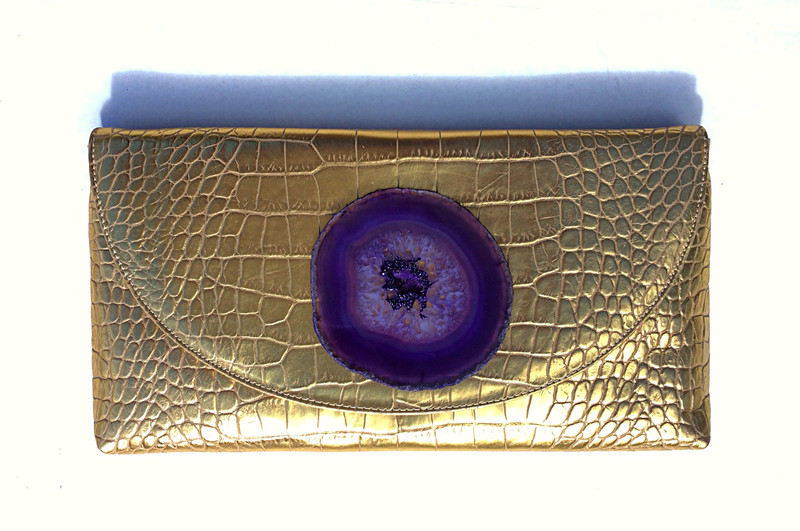 Gold Cowhide, Embossed Alligator, Handbag with Large Purple Agate Slice and Swarovski Rhinestones