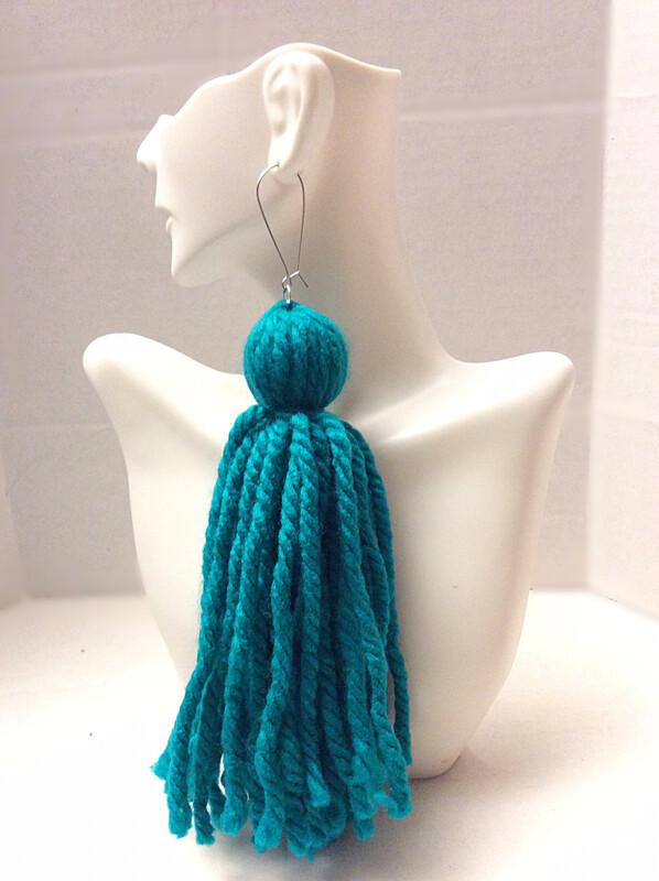 Emerald Green Tassel Earrings