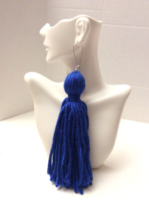 Royal Blue Tassel Earrings
