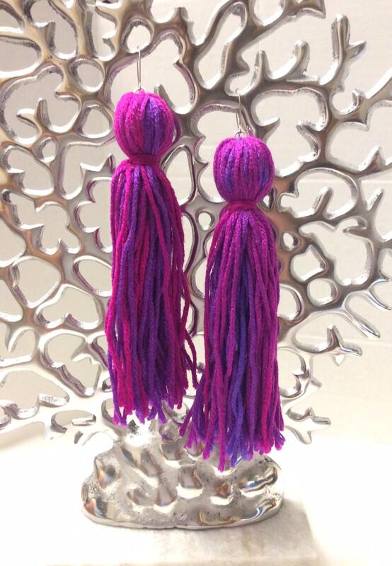 Purple & Fushia Tassel Earrings