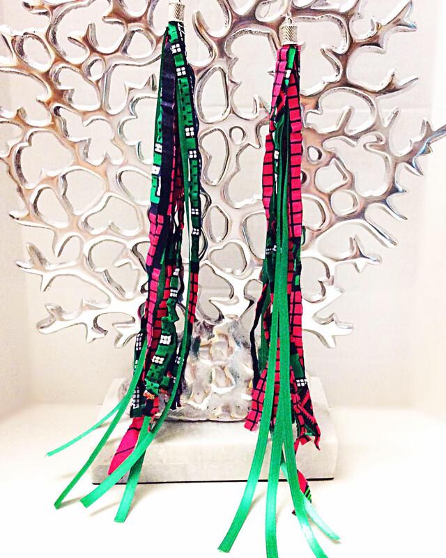 2Long Tassel Earrings-GAP (Green And Pink)