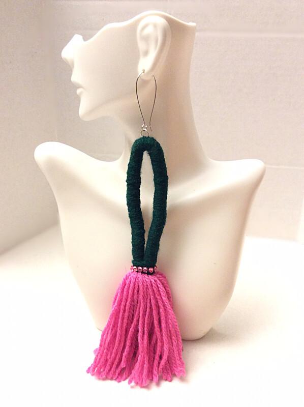 Green & Pink Loop Earrings