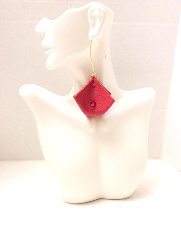 Red Leather Triangle Box & Swarovski