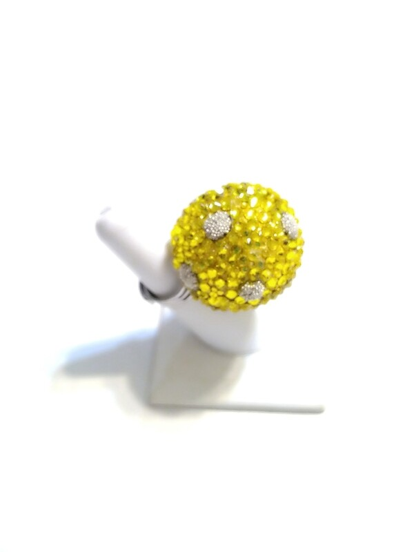 Yellow Disco Ball Ring (Large) - Silver Ring - Adjustable