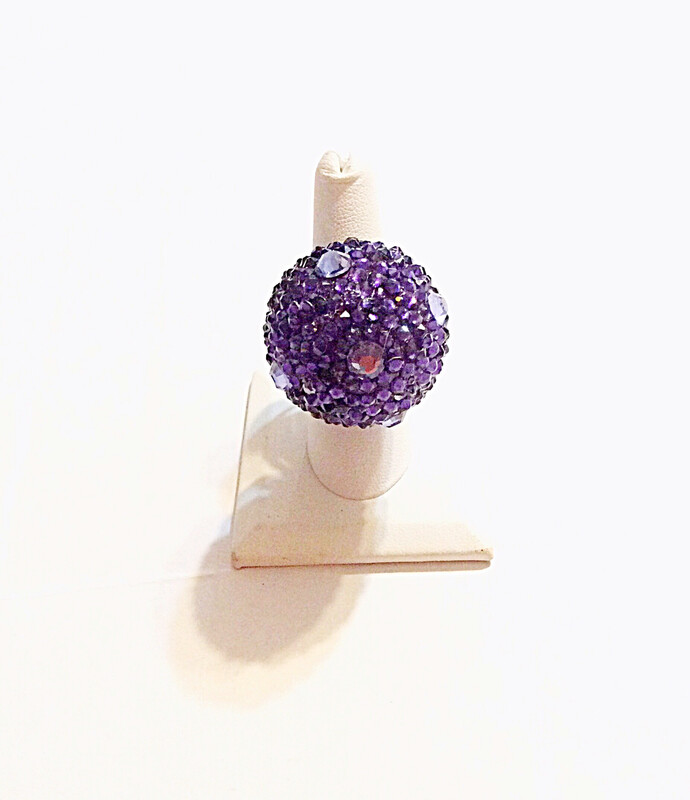 Purple Disco Ball Ring (Large) - Silver Ring - Adjustable