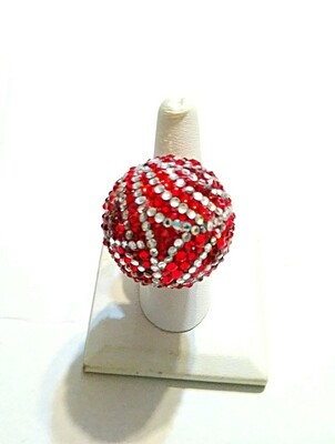 Red & White Disco Ball Ring (Large) - Silver Ring - Adjustable