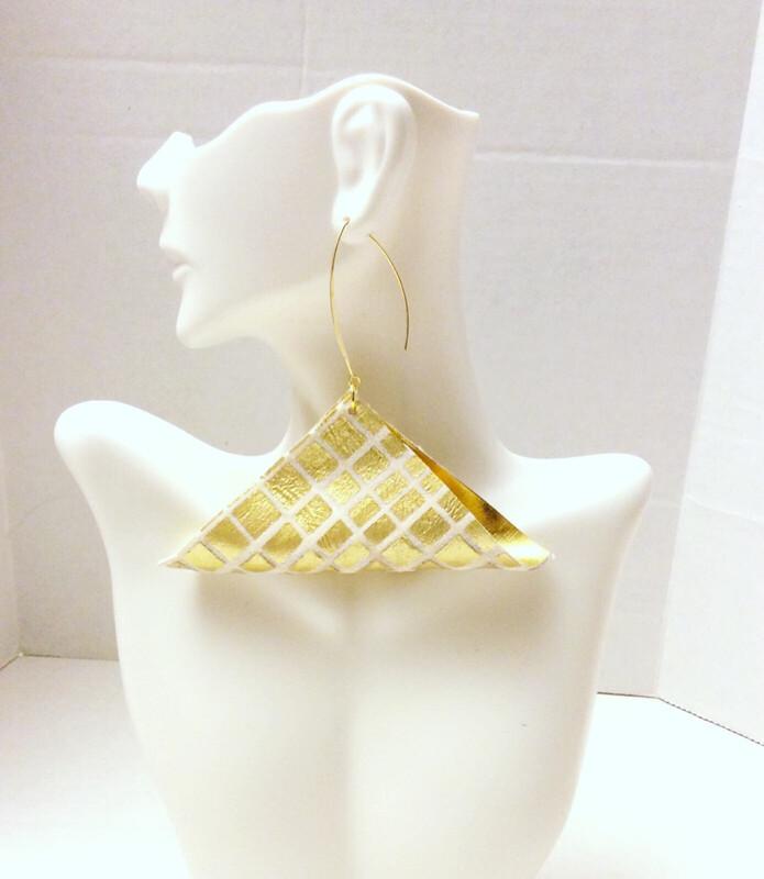 Triangle Fold Gold Earrings