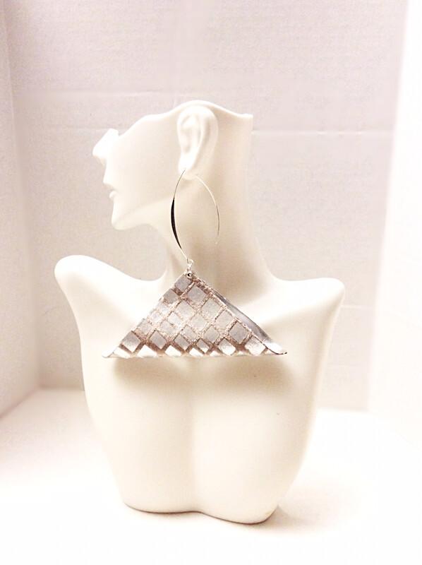 Triangle Fold Silver Earrings