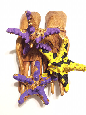 Purple and Gold Starfish Ring (MEDIUM)