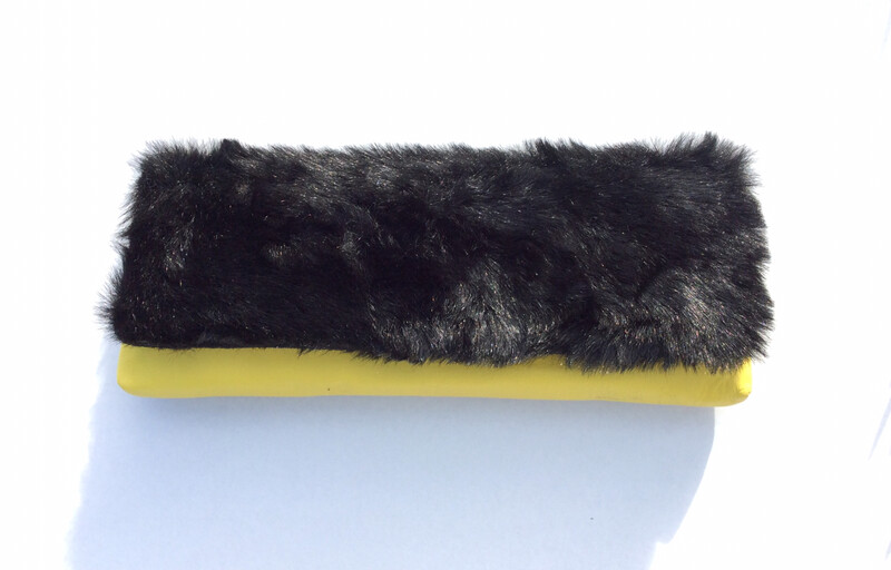 Black Faux Fur and Yellow Leather (Long)