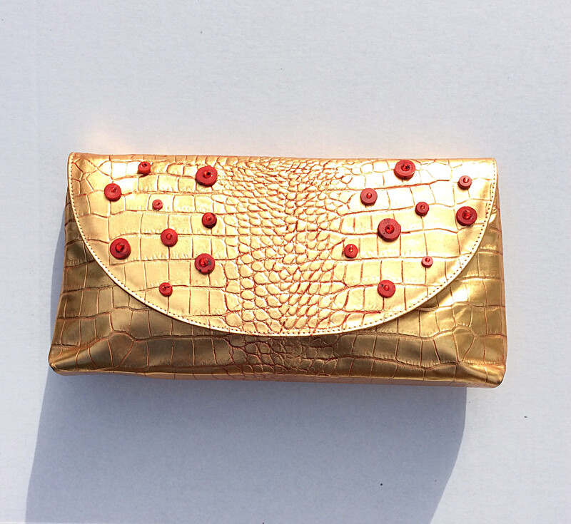 Gold and Red Alligator embossed Clutch and Crossbody Bag (Small)