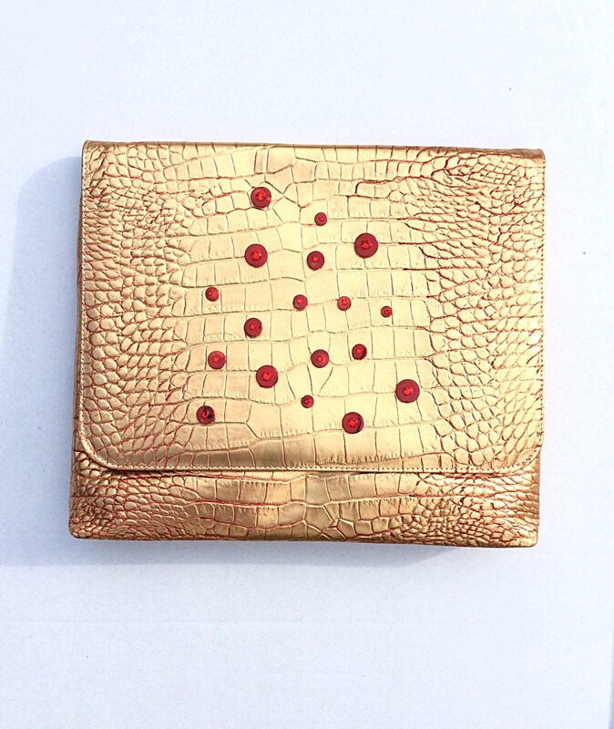 Gold and Red Alligator embossed Clutch and Crossbody Bag/Clutch (LARGE)