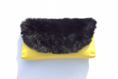 Black Faux Fur and Yellow Leather (Small)