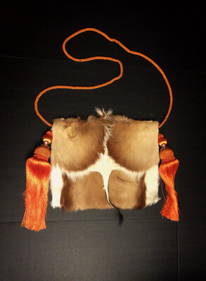 Springbok Crossbody - Brown and Tan  Bag w/Orange Tassel Strap