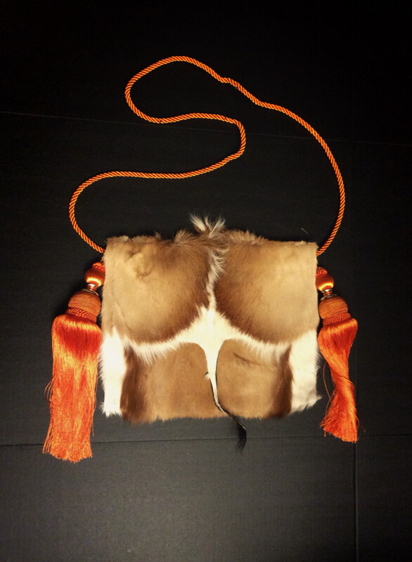 Springbok Crossbody - Brown and Tan  Bag w/Orange Tassel Strap