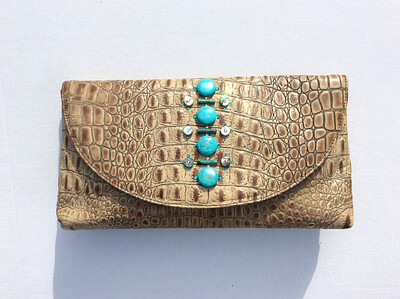 Beige and Brown Alligator embossed Clutch and Crossbody bag