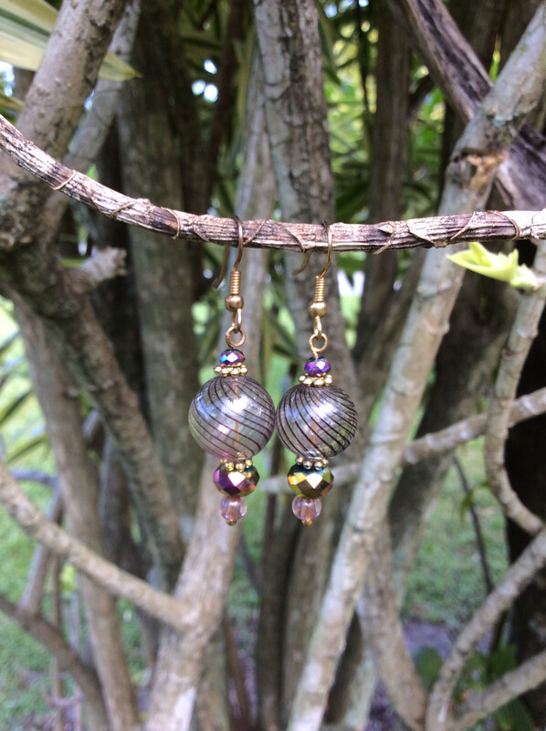 Glass Ball And Crystal Earrings