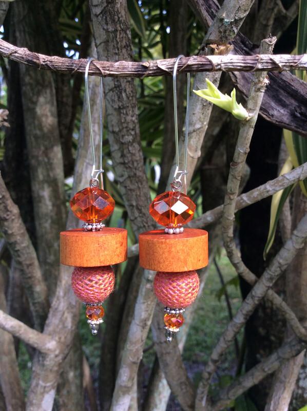 Orange Crystal & Wood Earrings