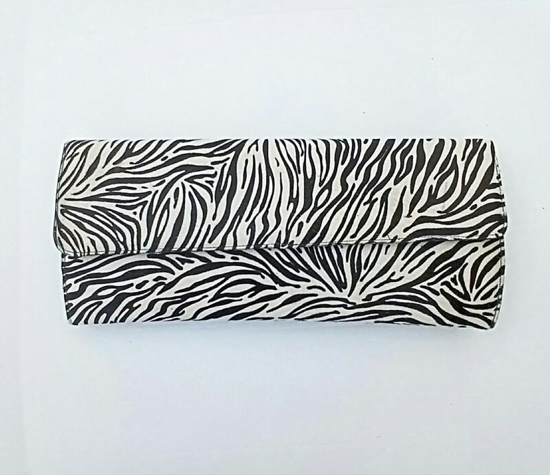Zebra Leather Clutch