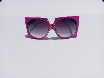 Fuchsia Square  Snakeskin Sunglasses w/Swarovski Rhinestones