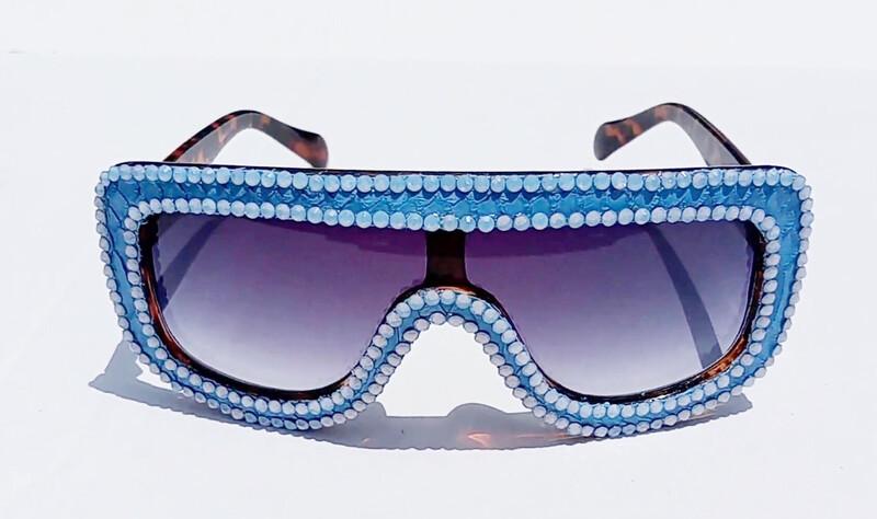 Baby Blue Snakeskin Sunglasses w/Swarovski Rhinestones