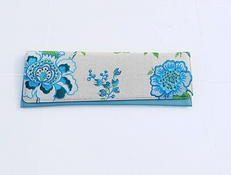 Turquoise Garden Clutch
