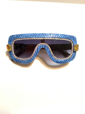 Baby Blue Snakeskin  Sunglasses w/ Yellow & AB Swarovski Rhinestones
