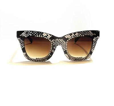Black, Gray, and White Snakeskin Sunglasses w/Swarovski Rhinestones