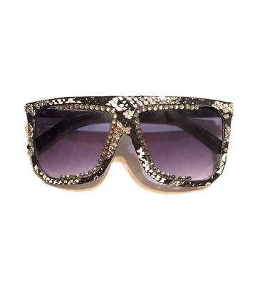 Black, Gray, and White Square  Snakeskin Sunglasses w/Swarovski Rhinestones
