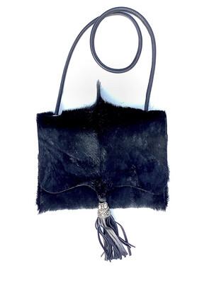 Springbok Crossbody Black Handbag Leather Tassel