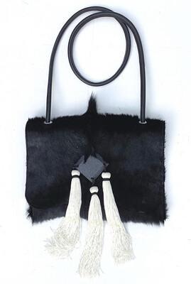 Springbok Crossbody Black Handbag White Tassel