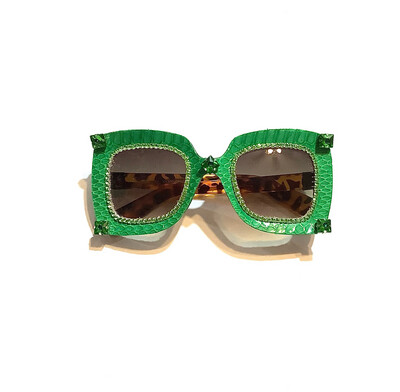 Green Lantern - Snakeskin Sunglasses With Swarovski Rhinestones
