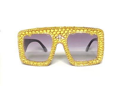 Yellow Dazzle Snakeskin Sunglasses