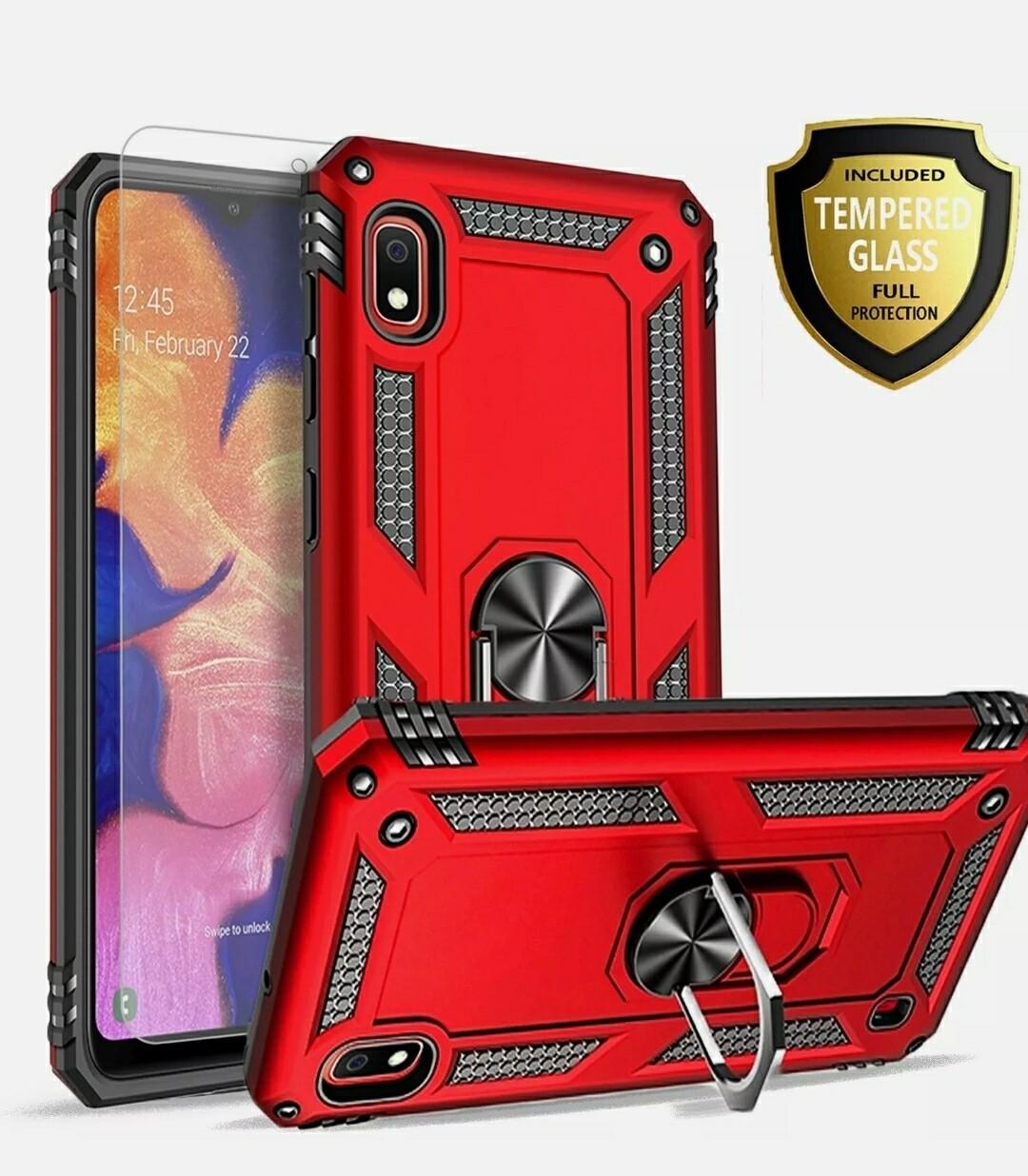 Samsung Galaxy A10e Case,  Ring Kickstand Cover + Tempered Glass Protector