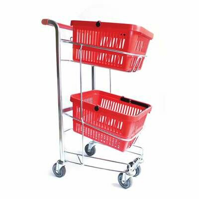 HAND BASKET TROLLEY RED 2 TIER