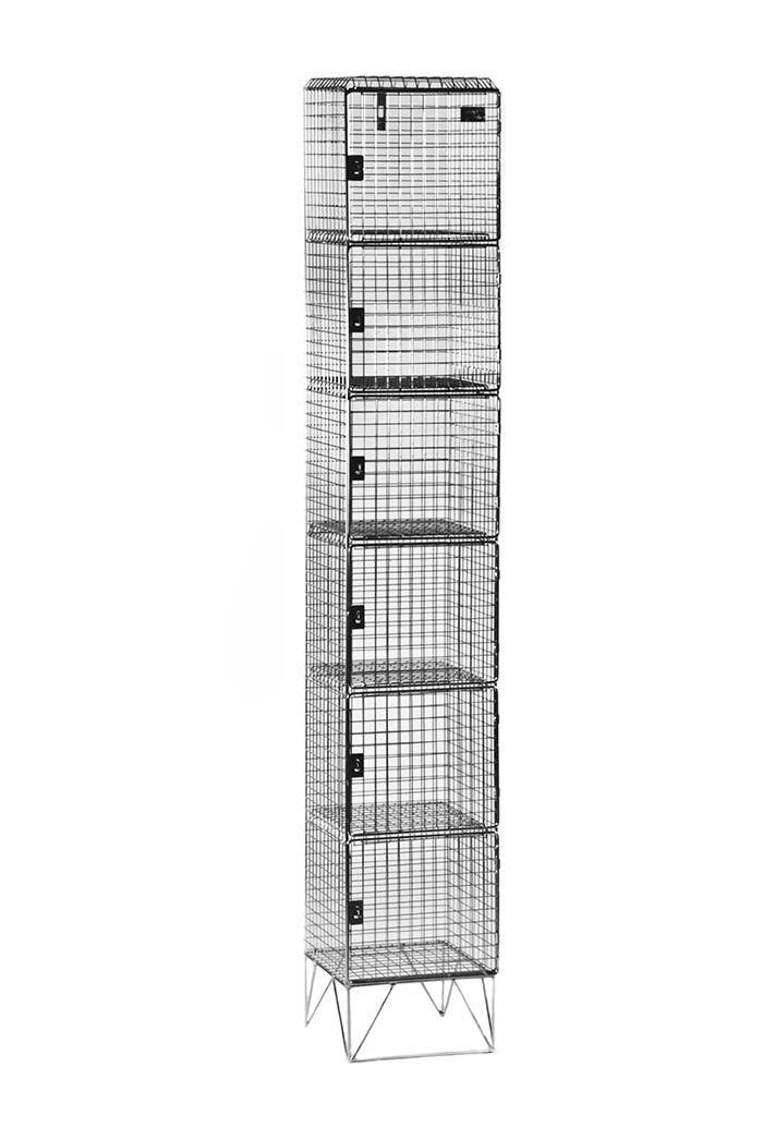 WIRE MESH STAFF LOCKER 1950 X 450 X 300 6 COMP