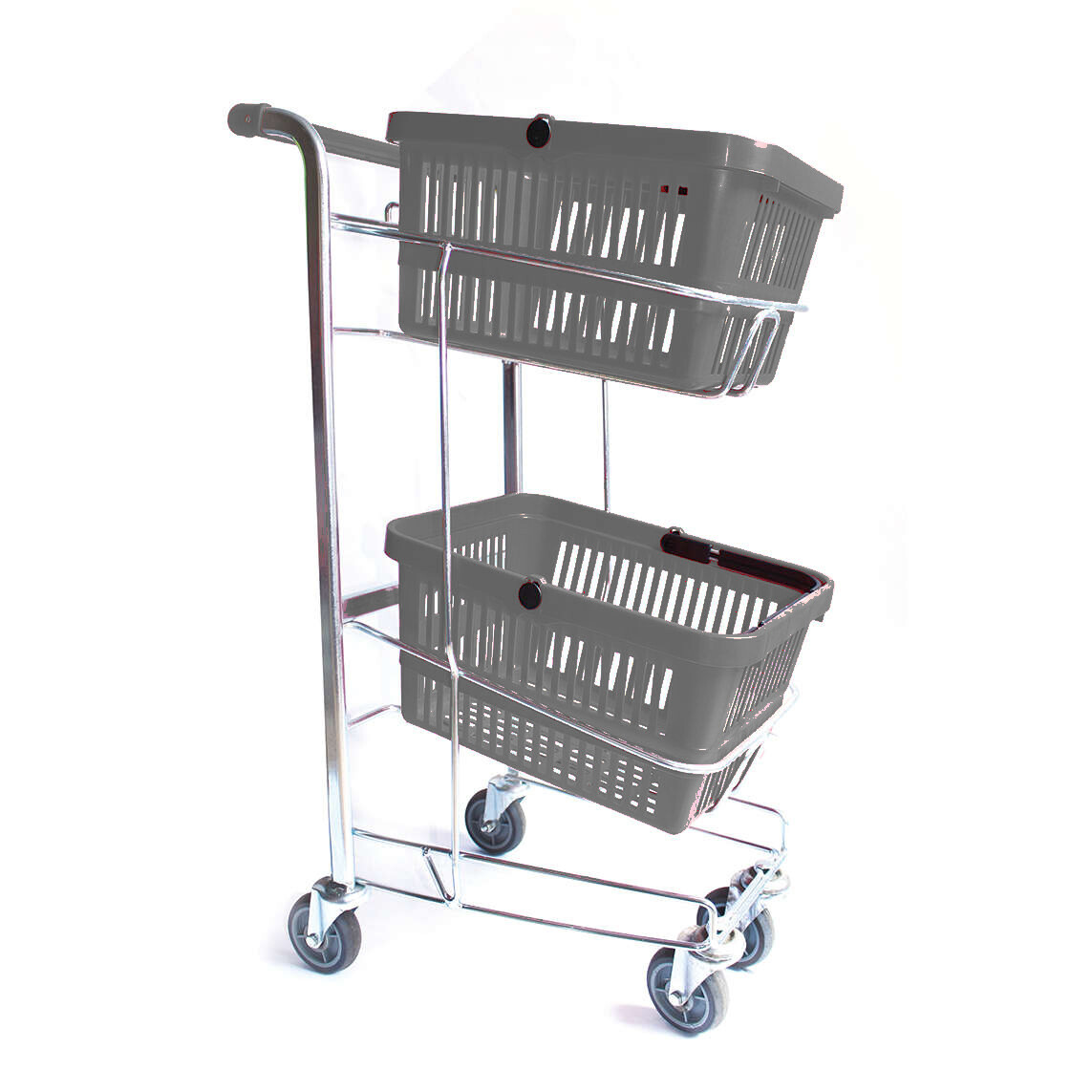 HAND BASKET TROLLEY GREY 2 TIER