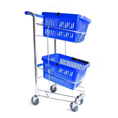 HAND BASKET TROLLEY BLUE 2 TIER