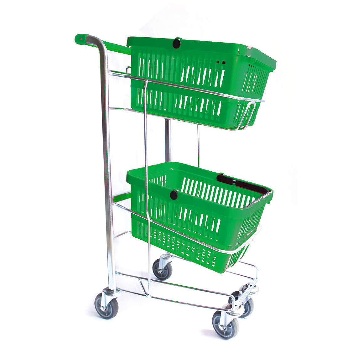 HAND BASKET TROLLEY GREEN 2 TIER