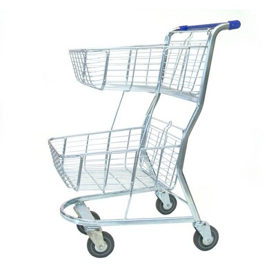 SHOPPING TROLLEY SUPER SHOPPER BLUE 2 TIER