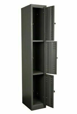 SOLID STAFF FACTORY LOCKER 1800X300X450 MM 3 TIER GREY