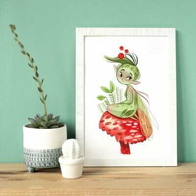 Little green pixie A4 print