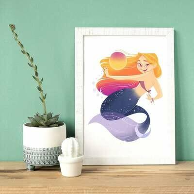 Sun and moon mermaid a4 art print
