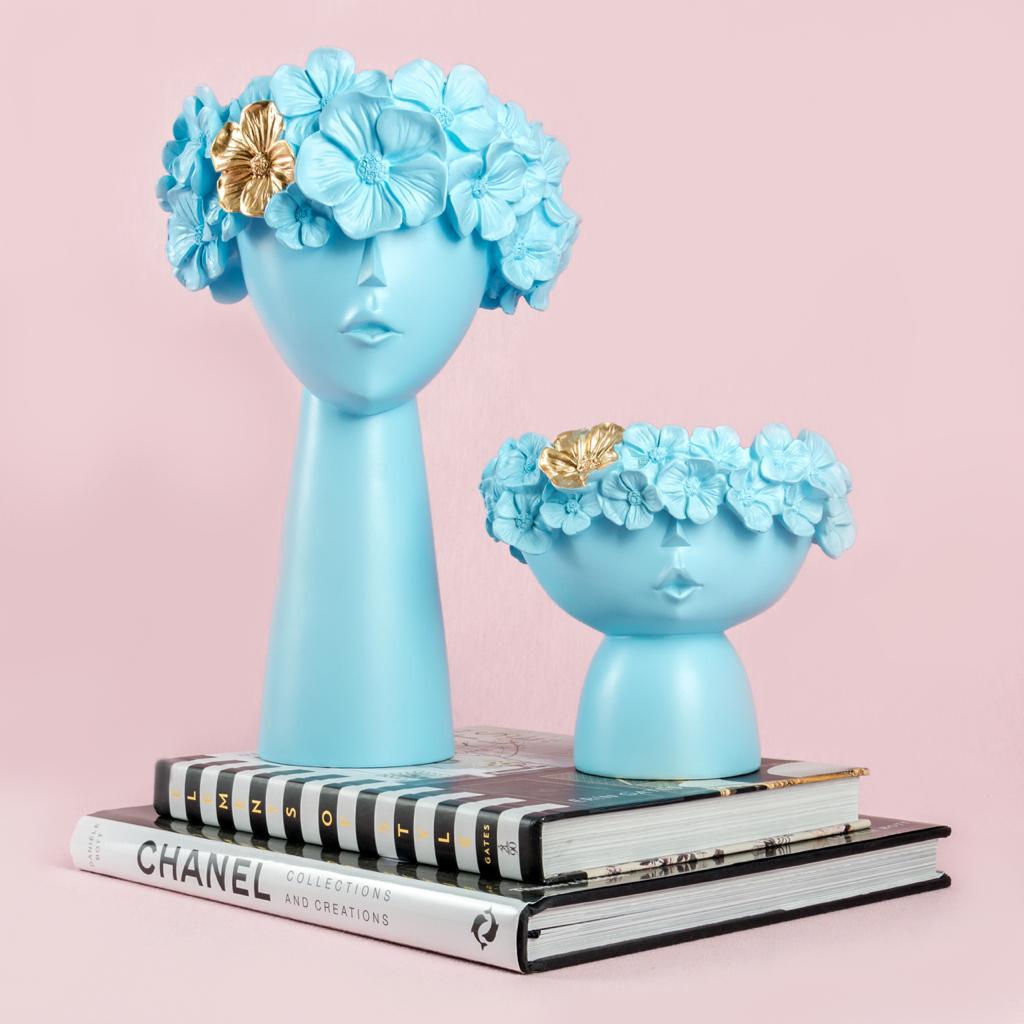 Set Floreros Azul
