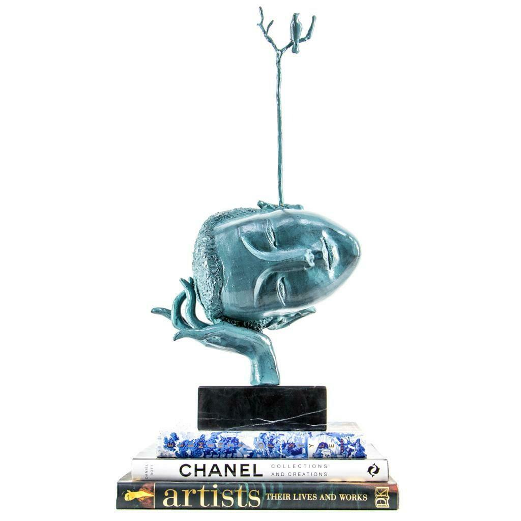 Blue Head with Bird Sculpture - Cool Deluxe