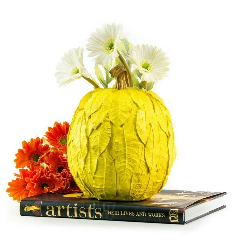 Yellow Leaves Pumpkin Flower Vase