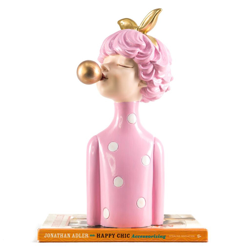 Gold Bubble Pink Girl Sculpture - Cool Ornaments