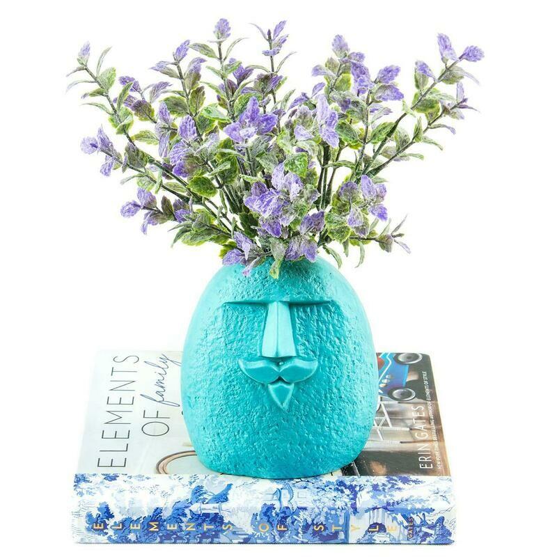 Turquoise Face Flower Vase - Florero